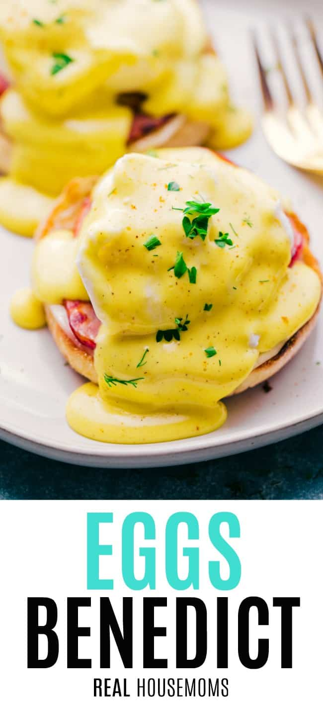 eggs benedict on a plate covered in hollandaise sauce