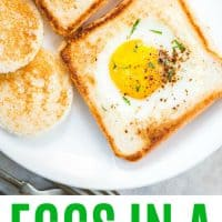 eggs in a basket on a plate with cutouts made into cinnamon sugar toast