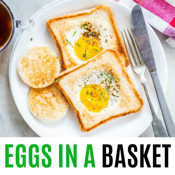 square image of eggs in a basket with text