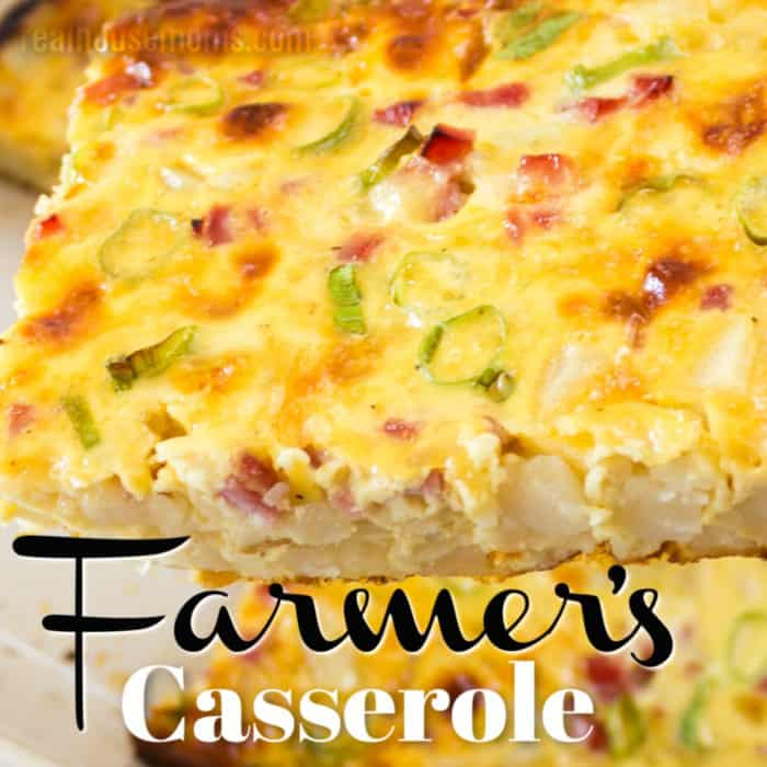 square image of farmer's breakfast casserole