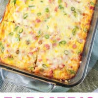 farmer's casserole in a baking dish, cut into 6 slices with recipe name at bottom