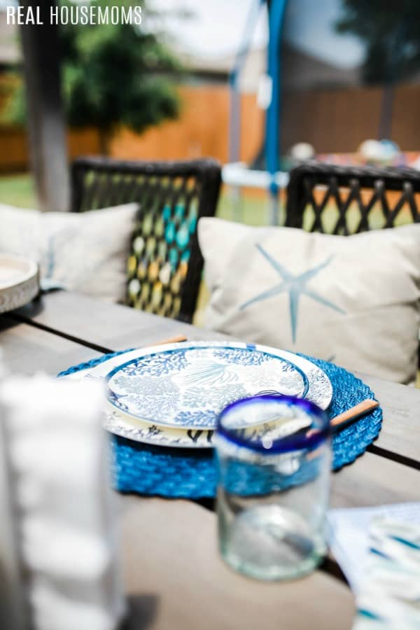 patio table set with cost plus world market summer tableware
