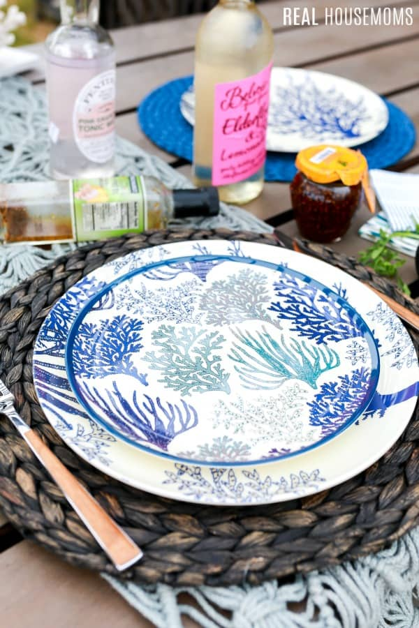 summer tableware from cost plus world market set up on a patio table
