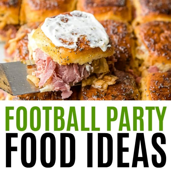 square image of football party food ideas with text