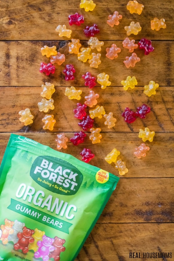 Black Forest Organic Gummy Bears spilling out of the bag