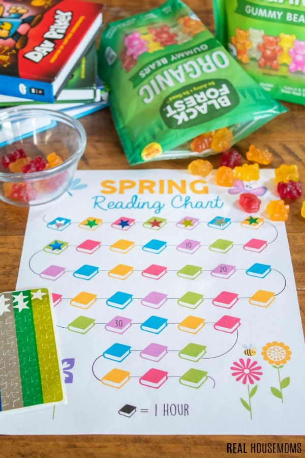 spring reading chart printable with stickers and gummy bears as a reward