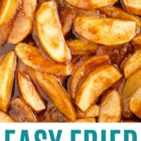 slose up of fried apples in a skillet with recipe name at the bottom