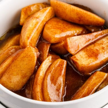 square close up image of fried apples in a white bowl