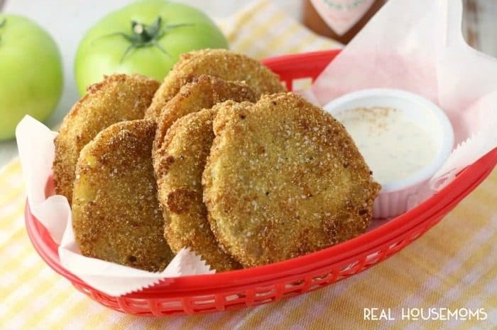 "FRIED GREEN TOMATOES are a great way to use up the unripe tomatoes from your garden. Crispy, tart and oh-so-Southern they'll have you grabbing a glass of sweet tea and saying ""ya'll"" in no time!"