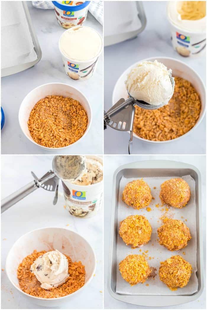 steps to make fried ice cream
