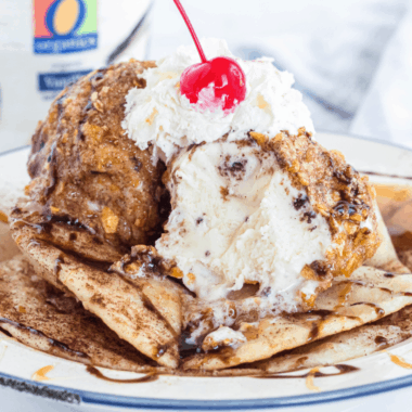 Fried Ice Cream is the best indulgent dessert! Surprisingly easy to make, and you can use whichever flavor of ice cream you love!