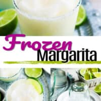 collage of images of ice bleded margritas in a glass with lime, also a cup on a plate with salt