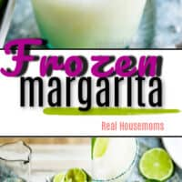Collage of frozen margaritas in a glass with lime and a plate of salt