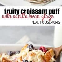 This Fruity Croissant Puff with Vanilla Bean Glaze is the most amazing breakfast or brunch because you actually make it up the night before!