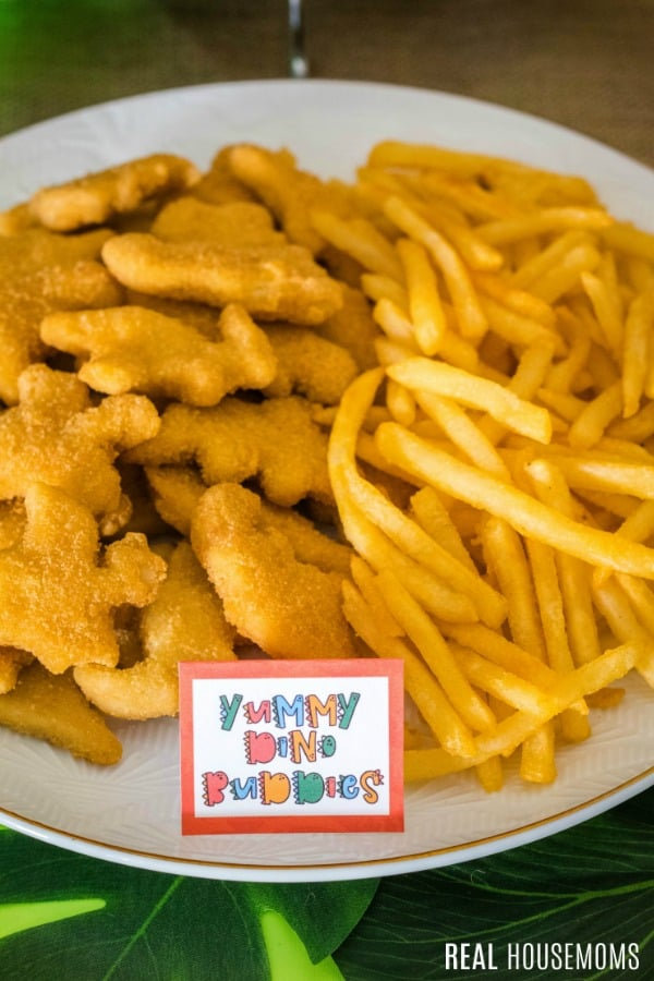 yummy dino buddies and fries on a serving plate