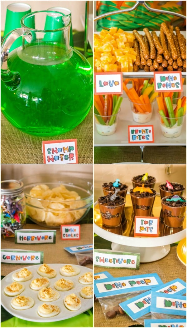dinosaur themed party foods and drinks