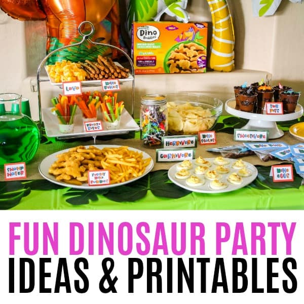 square image of dinosaur party food table and balloons with text