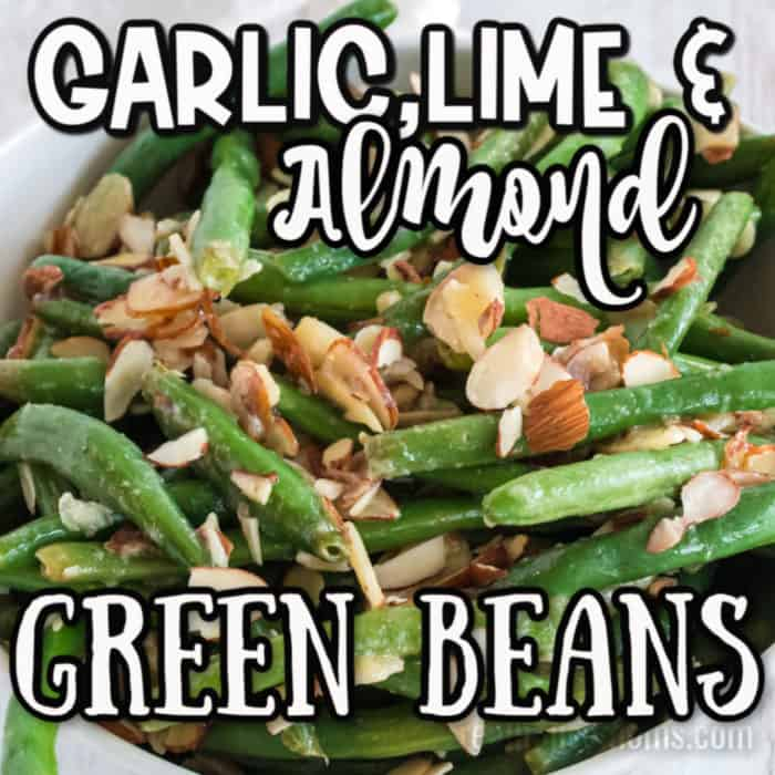 square image of Garlic, lime & Almond Green beans