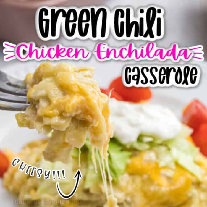square image of green chili chicken enchilada , pic of fork with casserole
