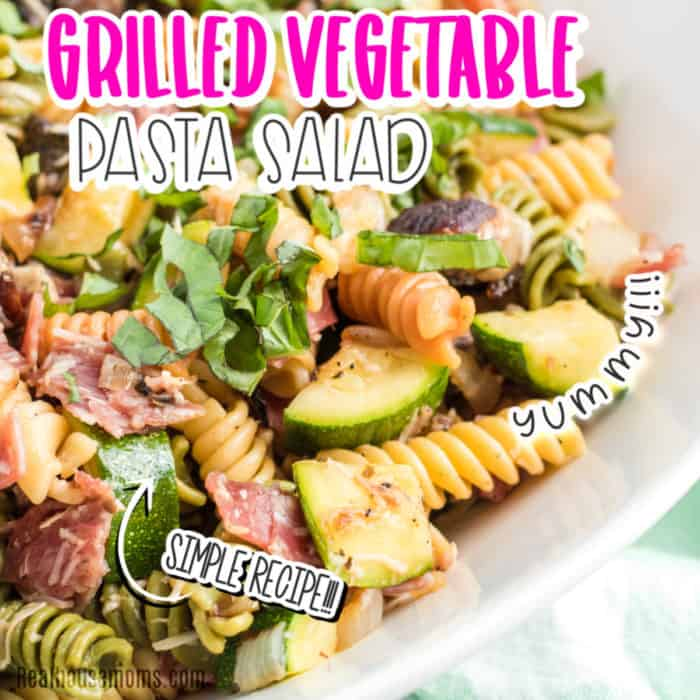 square image of close up of grilled vegetable pasta salad