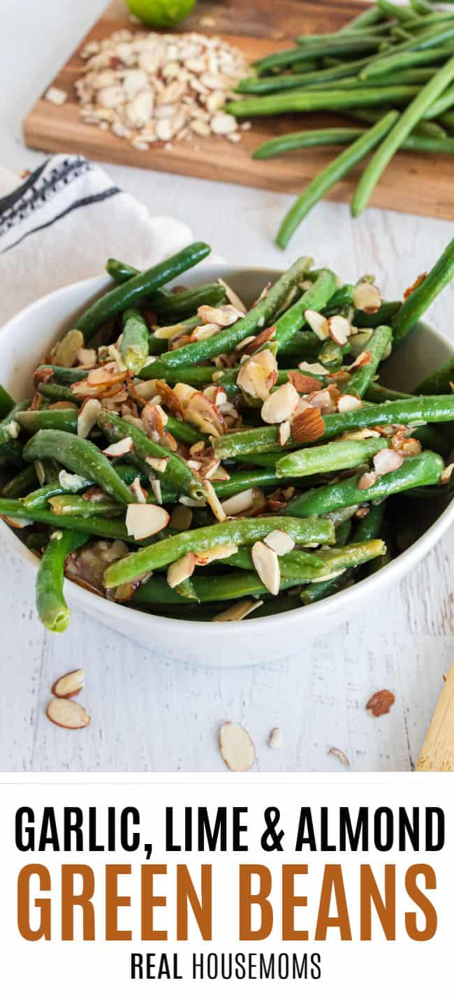 garlic, lime, and almond green beans in a bowl