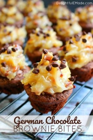 German Chocolate Brownie Bites by Delightful E Made