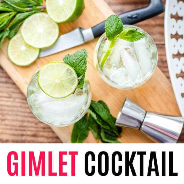 square image of gimlet cocktail with text