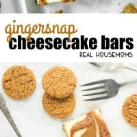 These Gingersnap Cheesecake Bars are an easy Christmas dessert made with a gingersnap crust and swirls of creamy cookie butter!