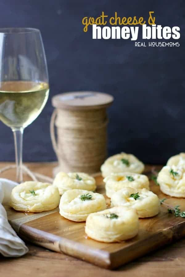 Savory Goat Cheese and Honey Bites are the perfect addition to your next gathering. Flaky pastry topped with creamy goat cheese, sweet honey and thyme make an easy and delicious appetizer!
