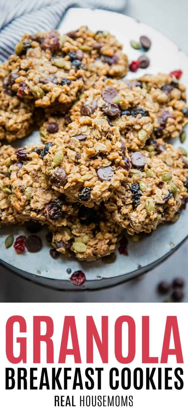 plate piled with granola breakfast cookies