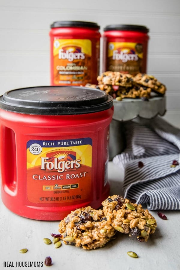 folgers coffee canisters with granola breakfast cookies