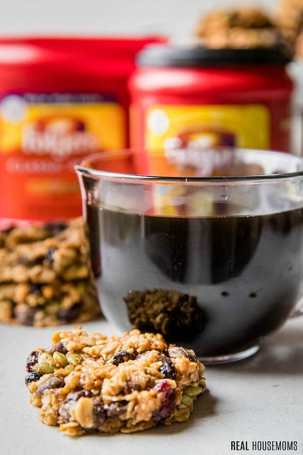 cup of folgers coffee with granola breakfast cookies