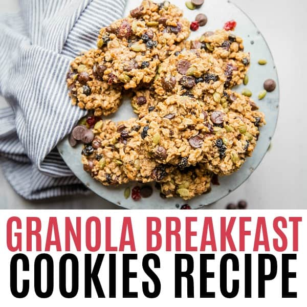 square image of granola breakfast cookies with text
