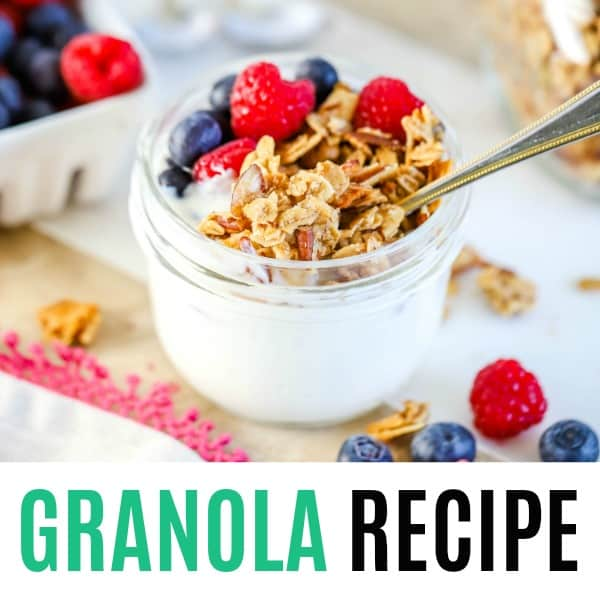square image of granola recipe with text