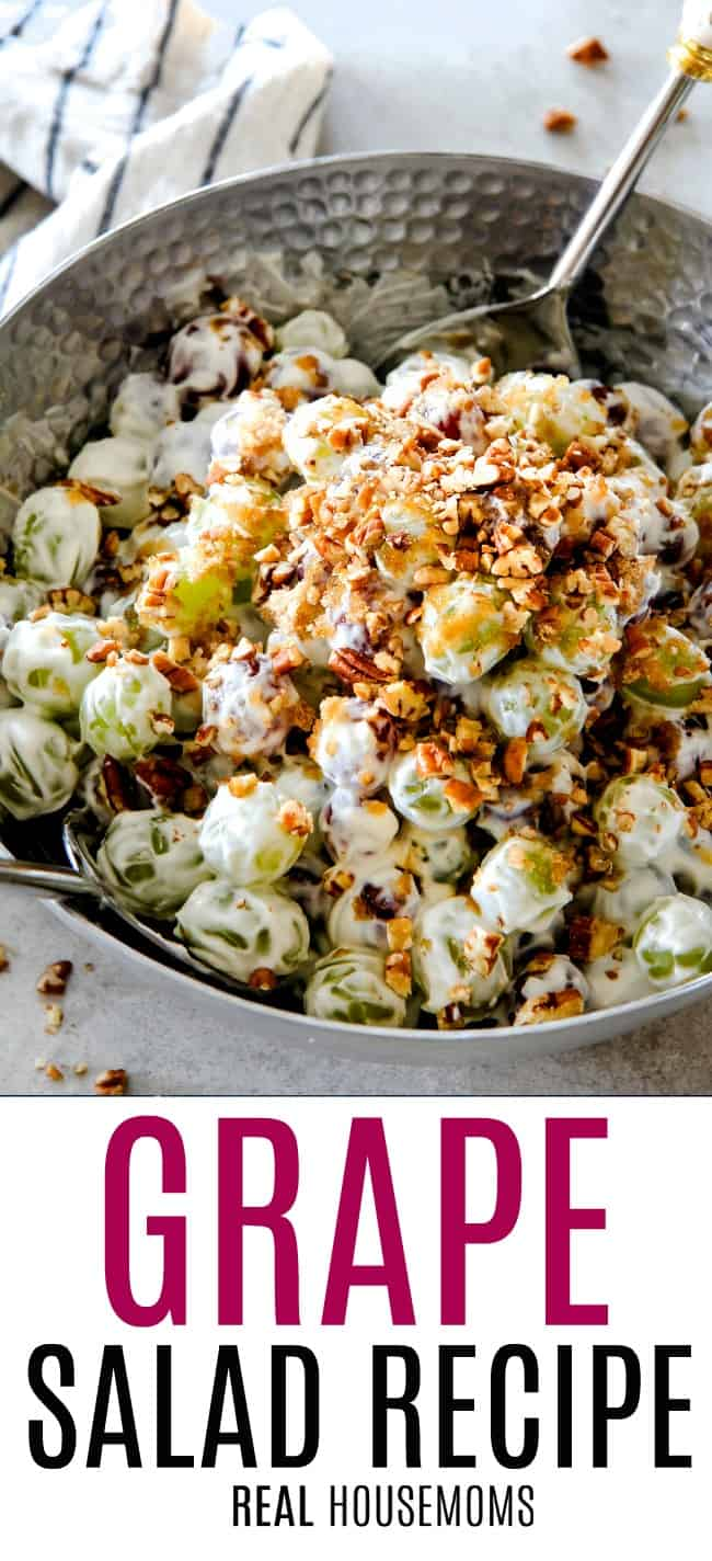 creamy grape salad in a serving bowl