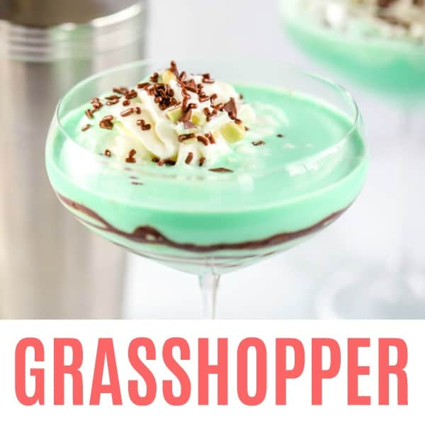 square image of grasshopper cocktail with text