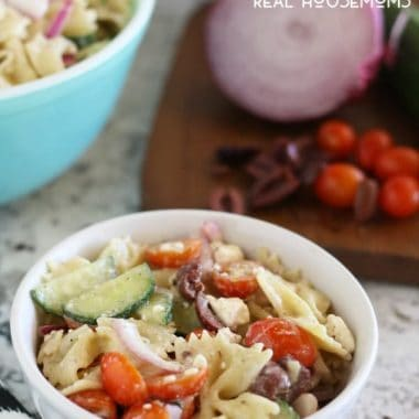 Bring all the flavors of Greece to your next barbecue with this GREEK PASTA SALAD. It's a fun twist on a classic side dish!