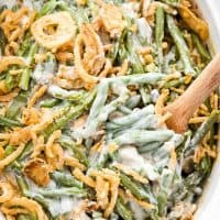 This is the best Green Bean Casserole recipe! It's so creamy and full of flavor & will be the perfect side dish for all your holiday feasts!