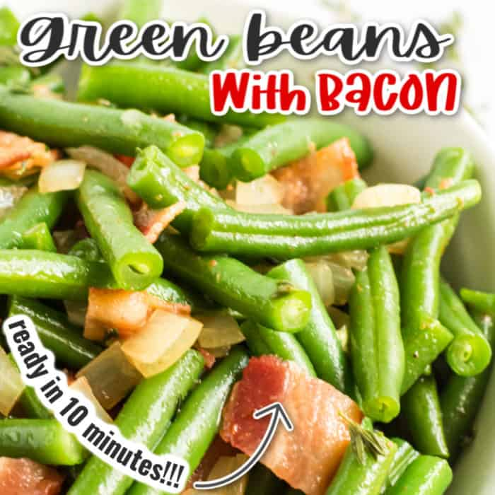 square image of green beans with bacon
