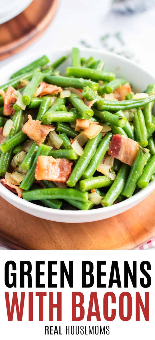 bowl of green beans with bacon and onion