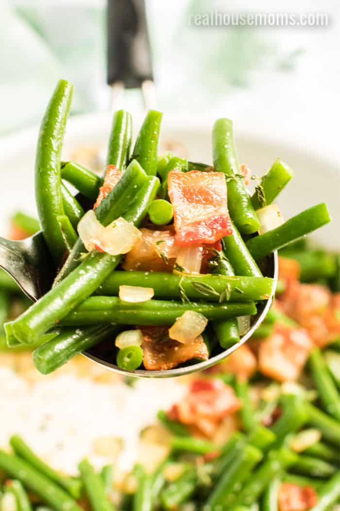 spoonful of green beans and bacon