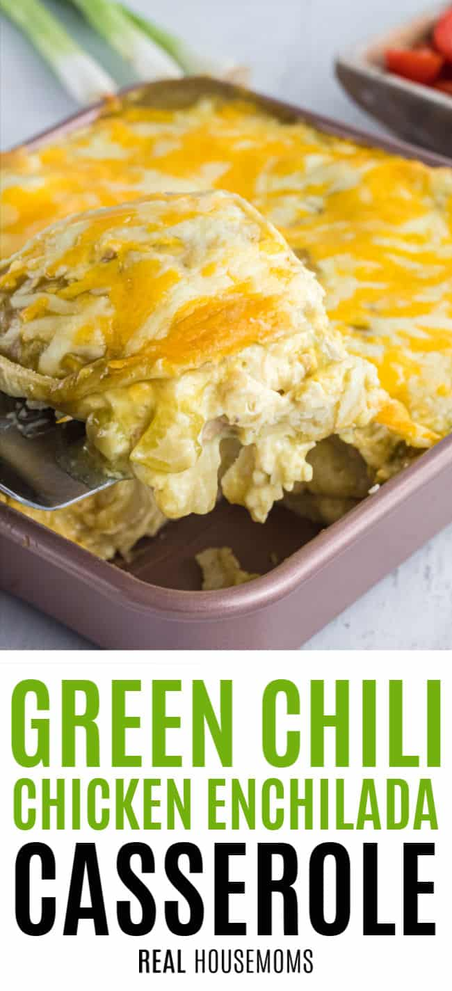 spatula lifting a slice of green chicken enchilada casserole from a pan