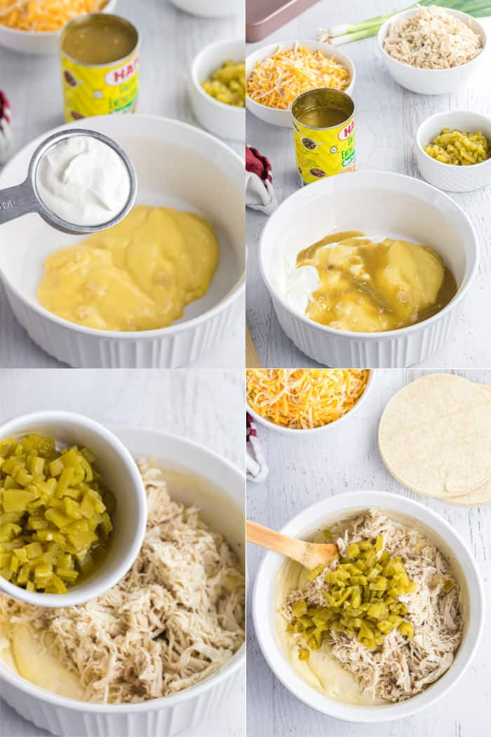 cream of chicken soup and sour cream in a bowl, cream of chicken soup, sour cream, and green enchilada sauce in a bowl, green chilis and chicken added to filling ingredients in a bowl, wooden spoon in bowl with filling ingredients to mix them up