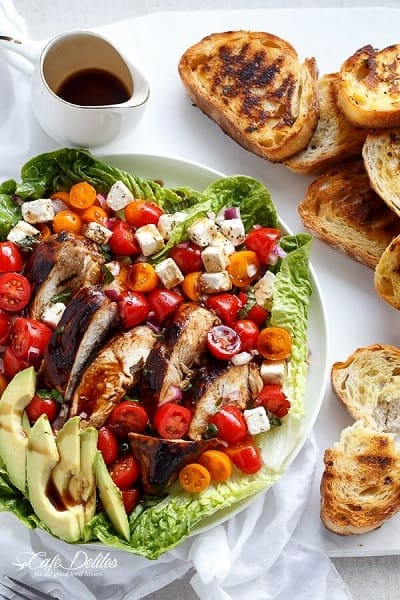 Grilled Balsamic Chicken and Avocado Bruschetta Salad - Cafe Delites