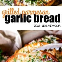 Buttery, thick Italian spiced Grilled Parmesan Garlic Bread is the perfect summer side to almost any meal and so incredibly easy and budget friendly!