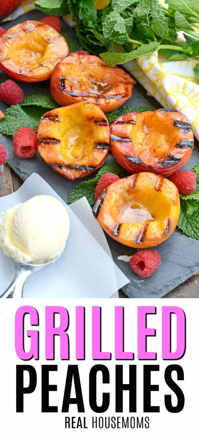 grilled peaches on a serving platter