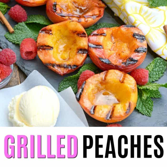 square image of grilled peaches with text