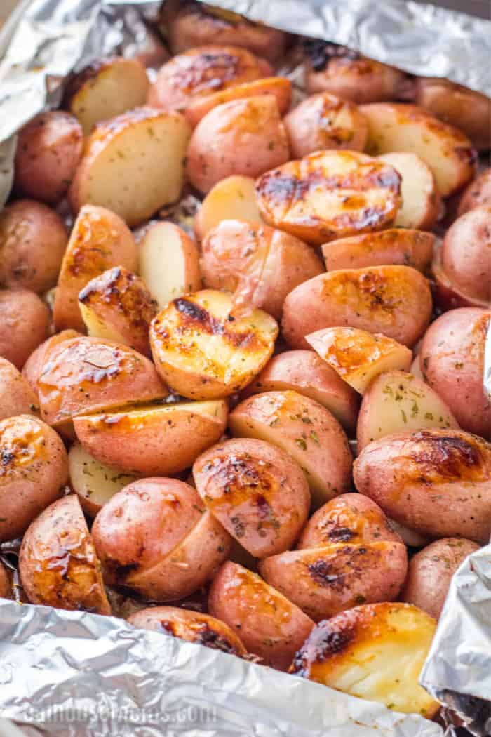 grilled ranch potatoes after cooking