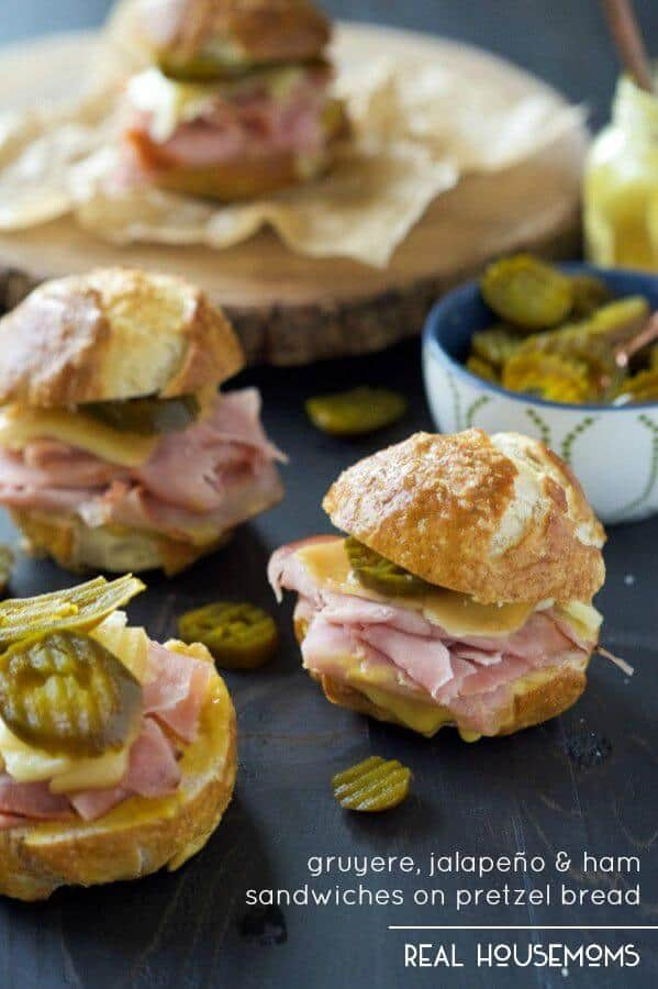 Gruyere, Jalapeño and Ham Sandwiches on Pretzel Bread - Real Housemoms