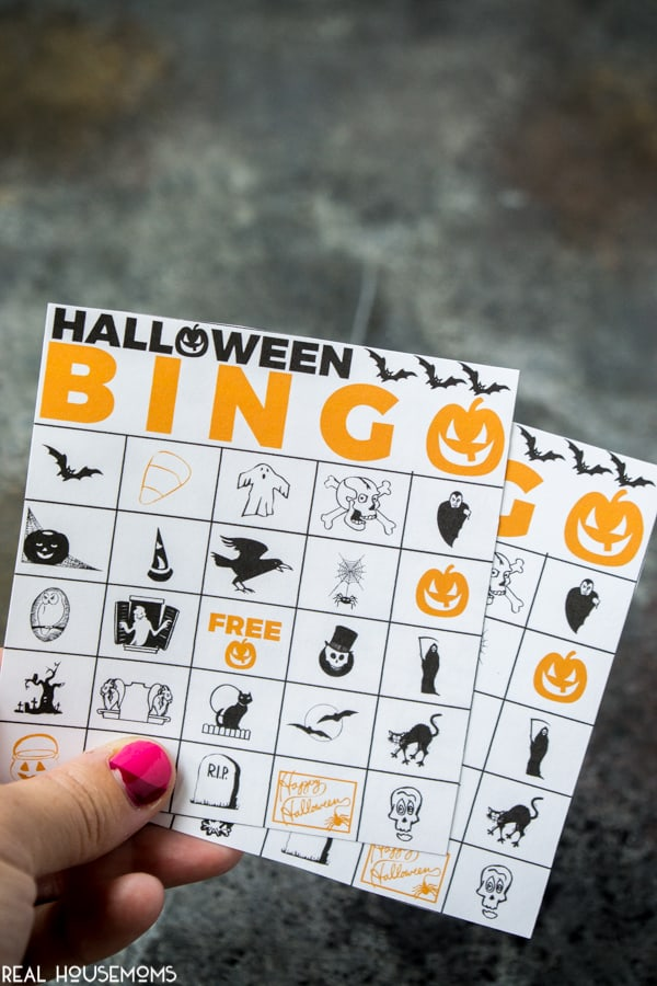 Halloween Bingo Cards printed out and cut to size